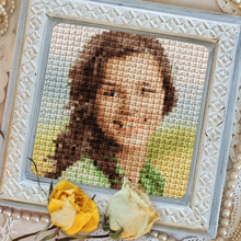 Cross-Stitched Photo in Frame
