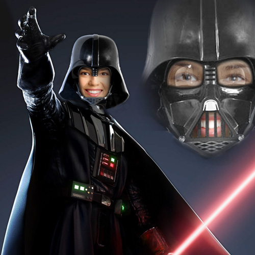 darth vader face in hole photo montage online