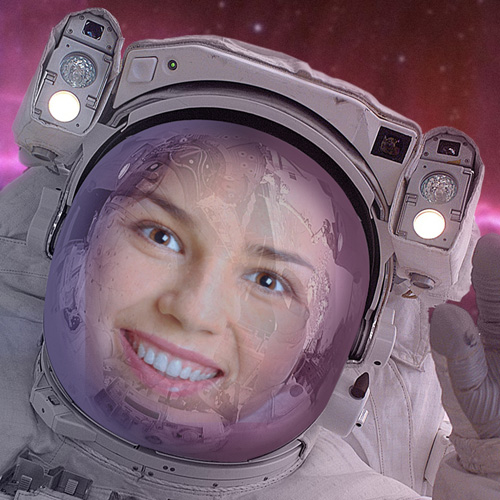 'Astronaut' Face in Hole Photo Montage Online
