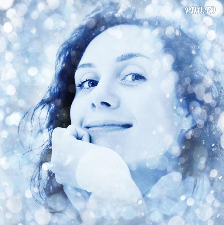 Blue lights background elevates the festive spirit of a photo