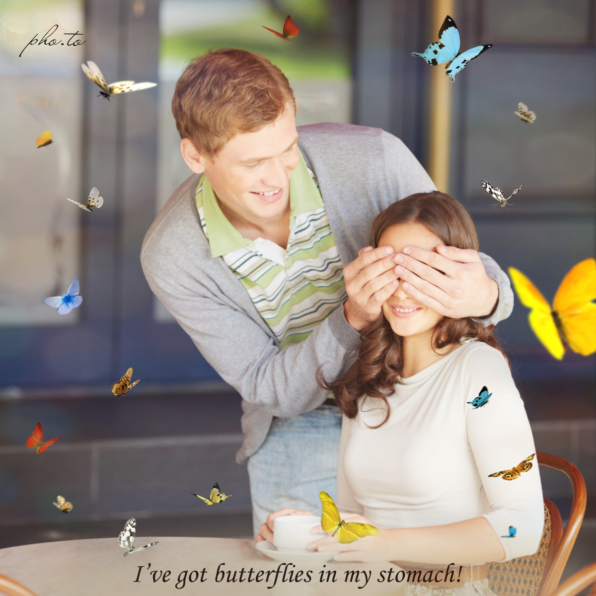 A couple in love with butterflies all around, added as overlay online
