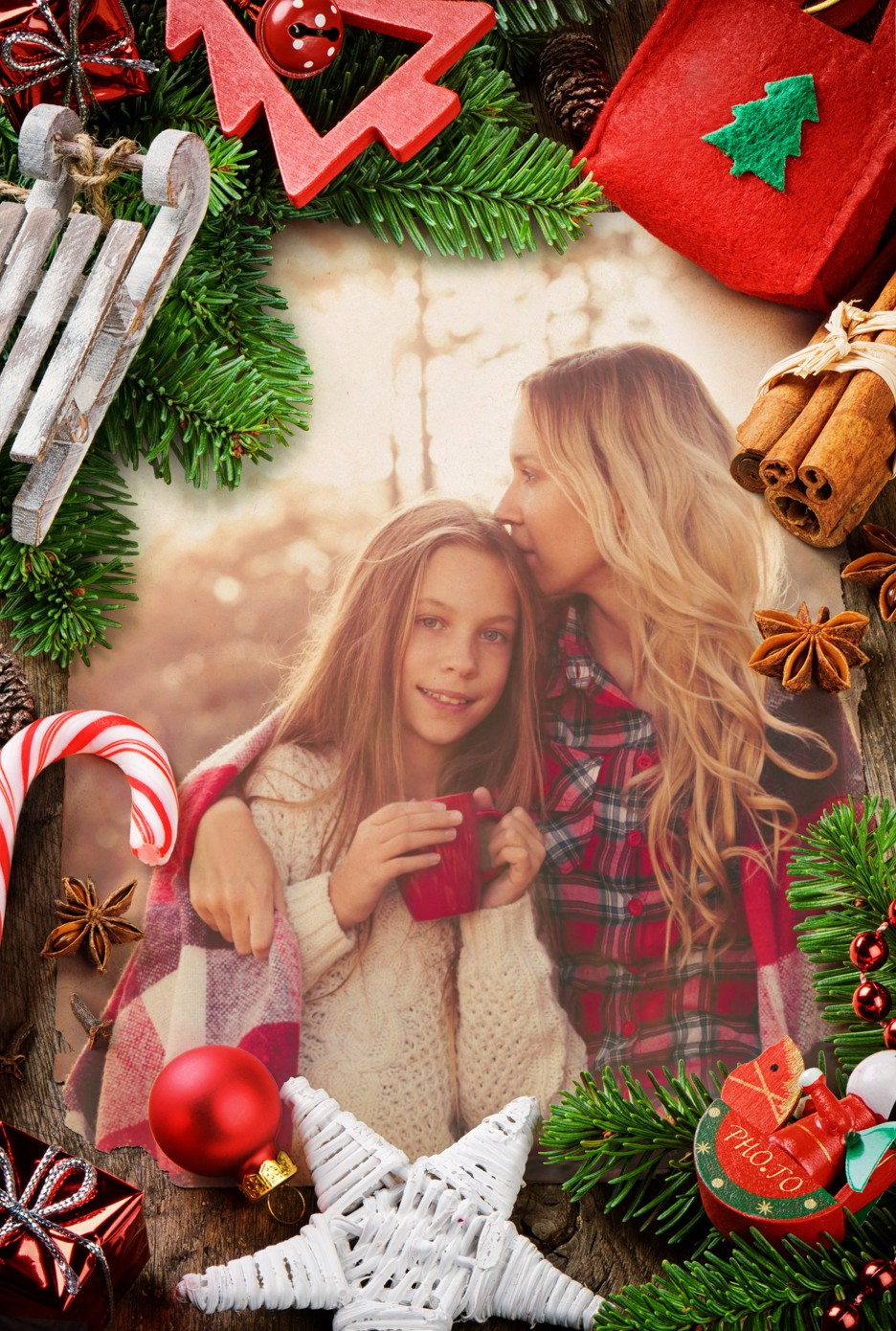 A photo of mother and daughter in a Christmas frame
