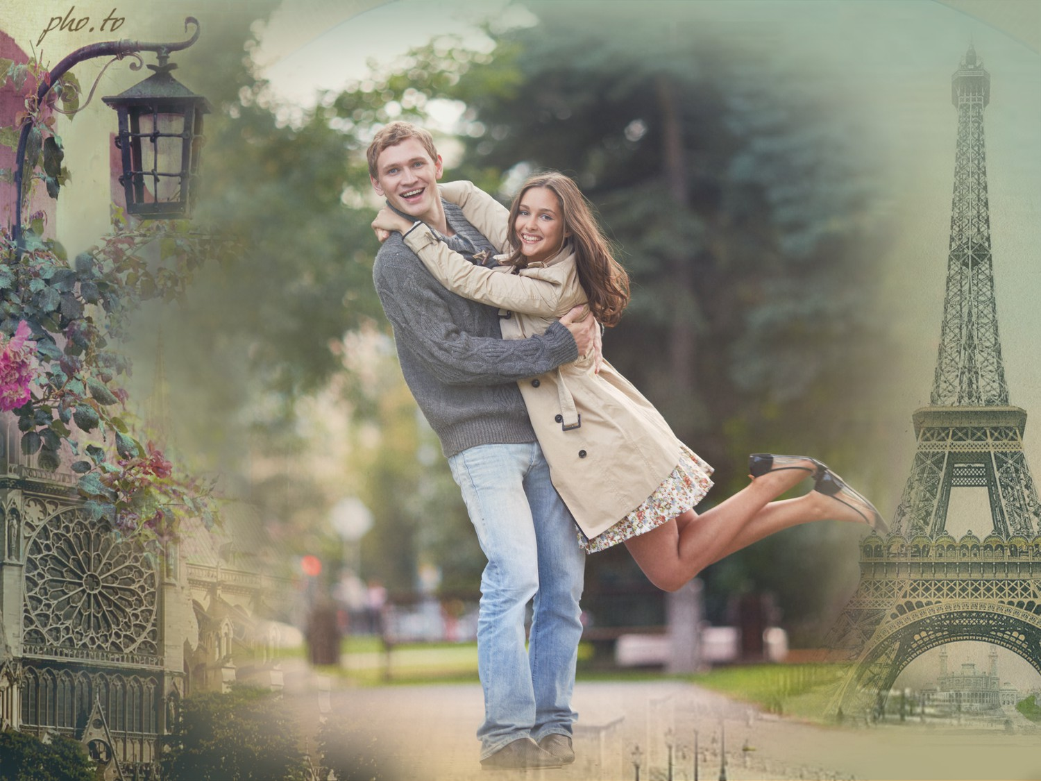 The photo background is changed to a romantic with vintage photo frame.