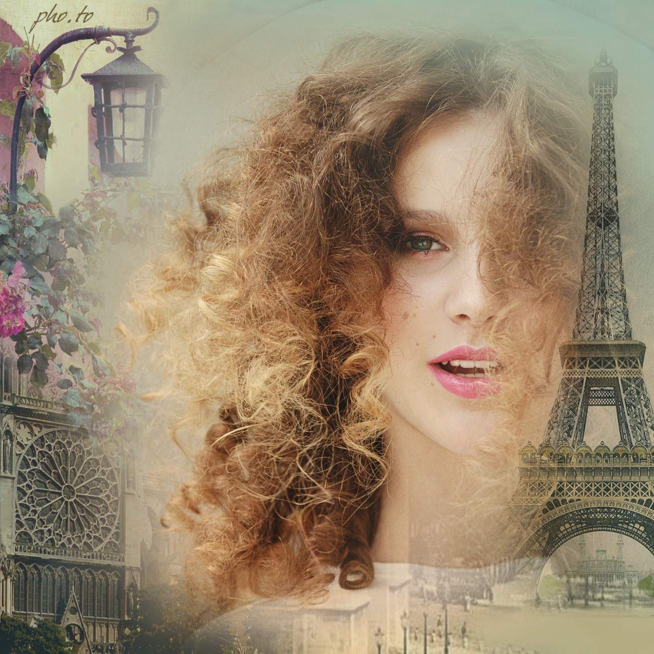 Change a photo background with this cute Paris picture frame online.