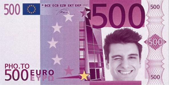 500 euro note effect applied to a winking man in a portrait photo