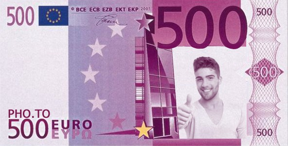 Fake euro template applied to a handsome man's close-up portrait.