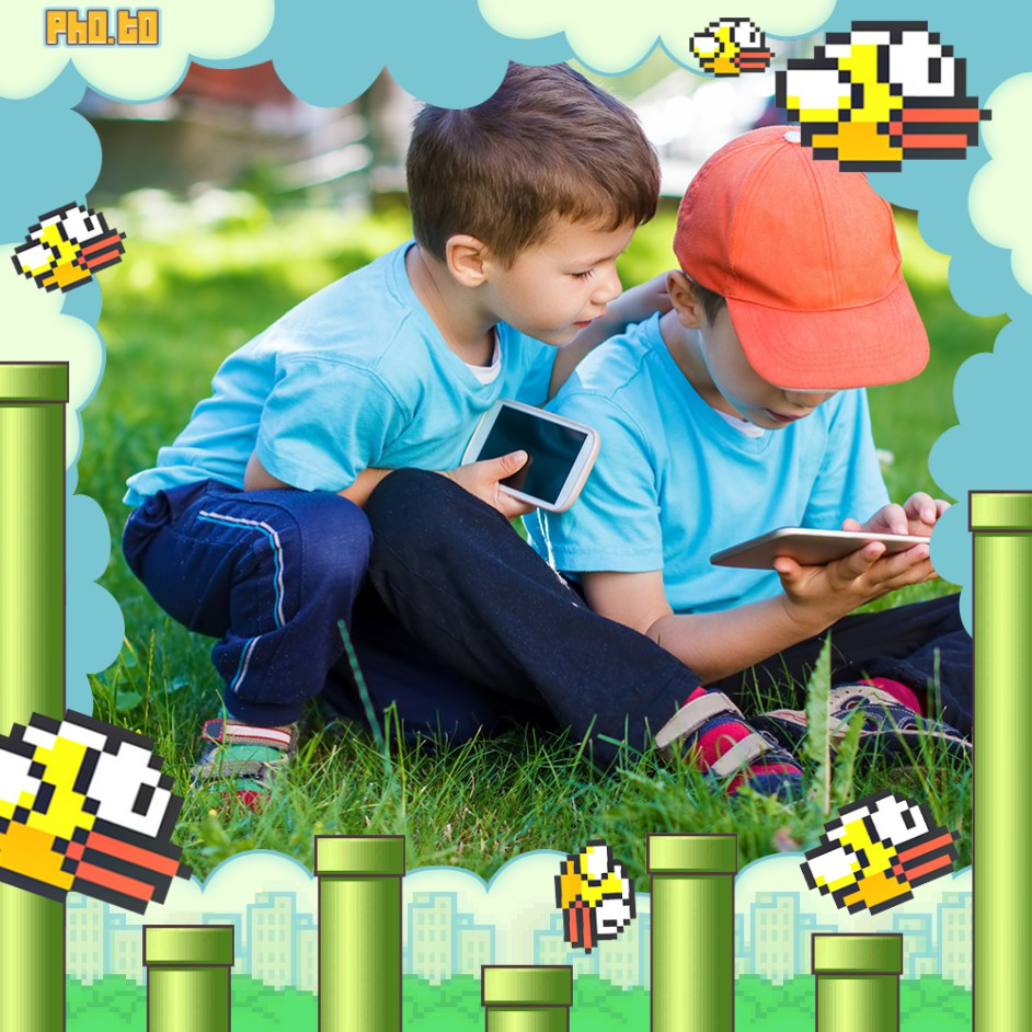 Photo frame with pixelated flappy birds with a photo of two little boys.