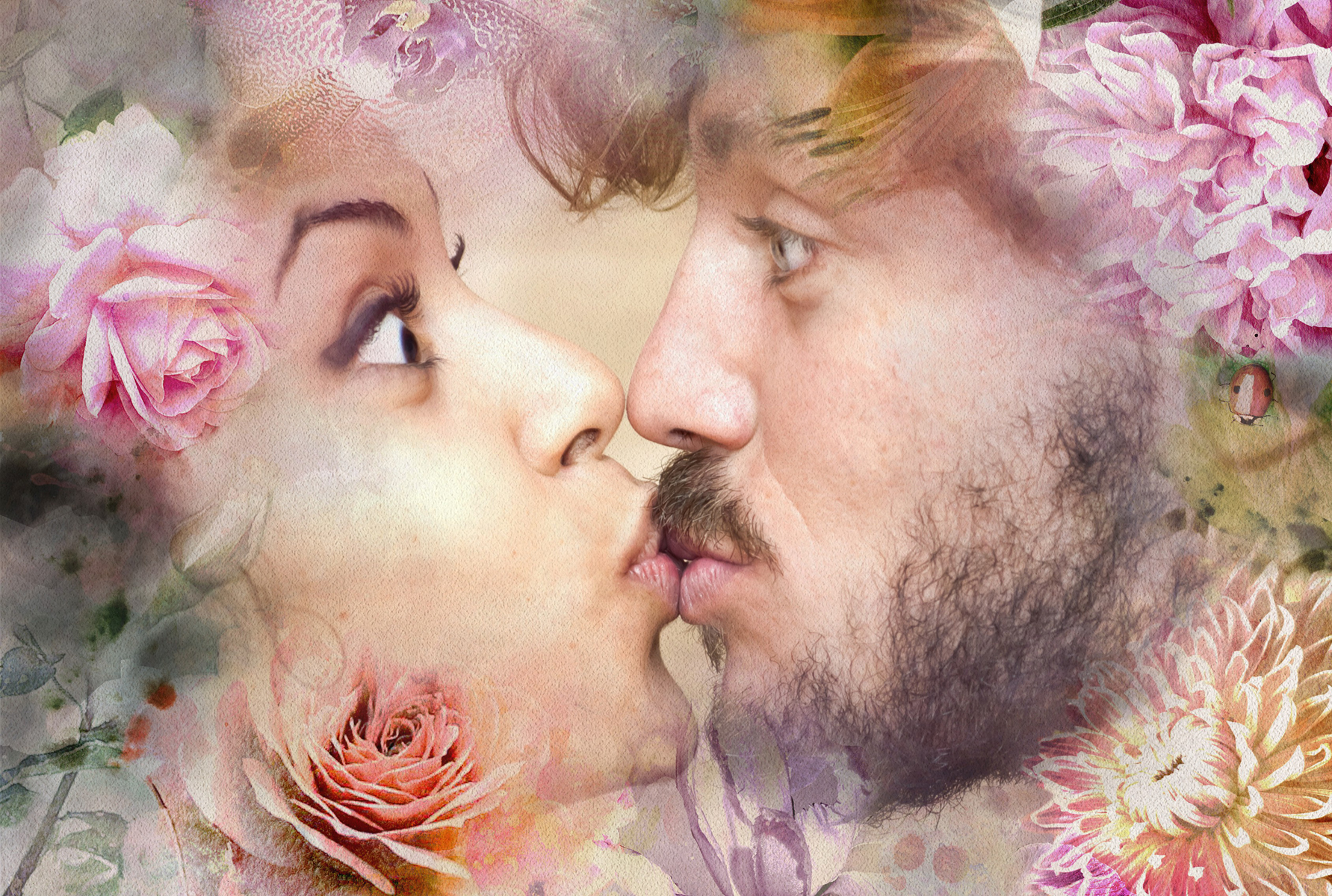 Flower picture background adds romanticism to this kissing couple photo