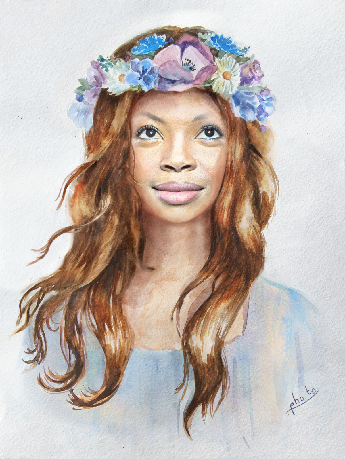 Lady's face is put on a watercolor body with a floral head crown