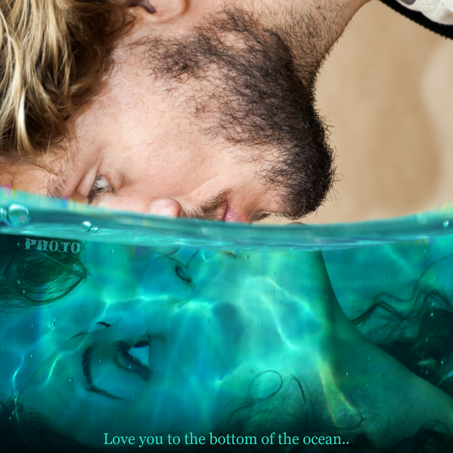 Half underwater photo effect used to create a love card