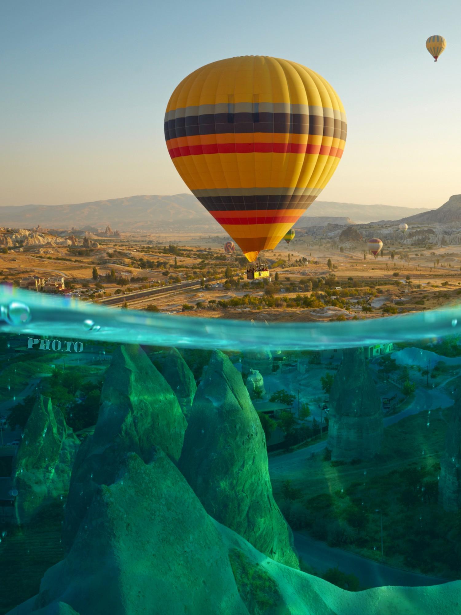 Turn your photo into a half underwater shot online