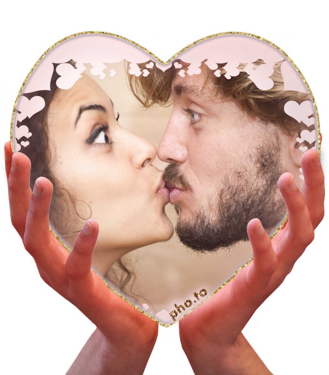 A nice romantic ecard with a kissing couple's photo in a heart shaped frame.