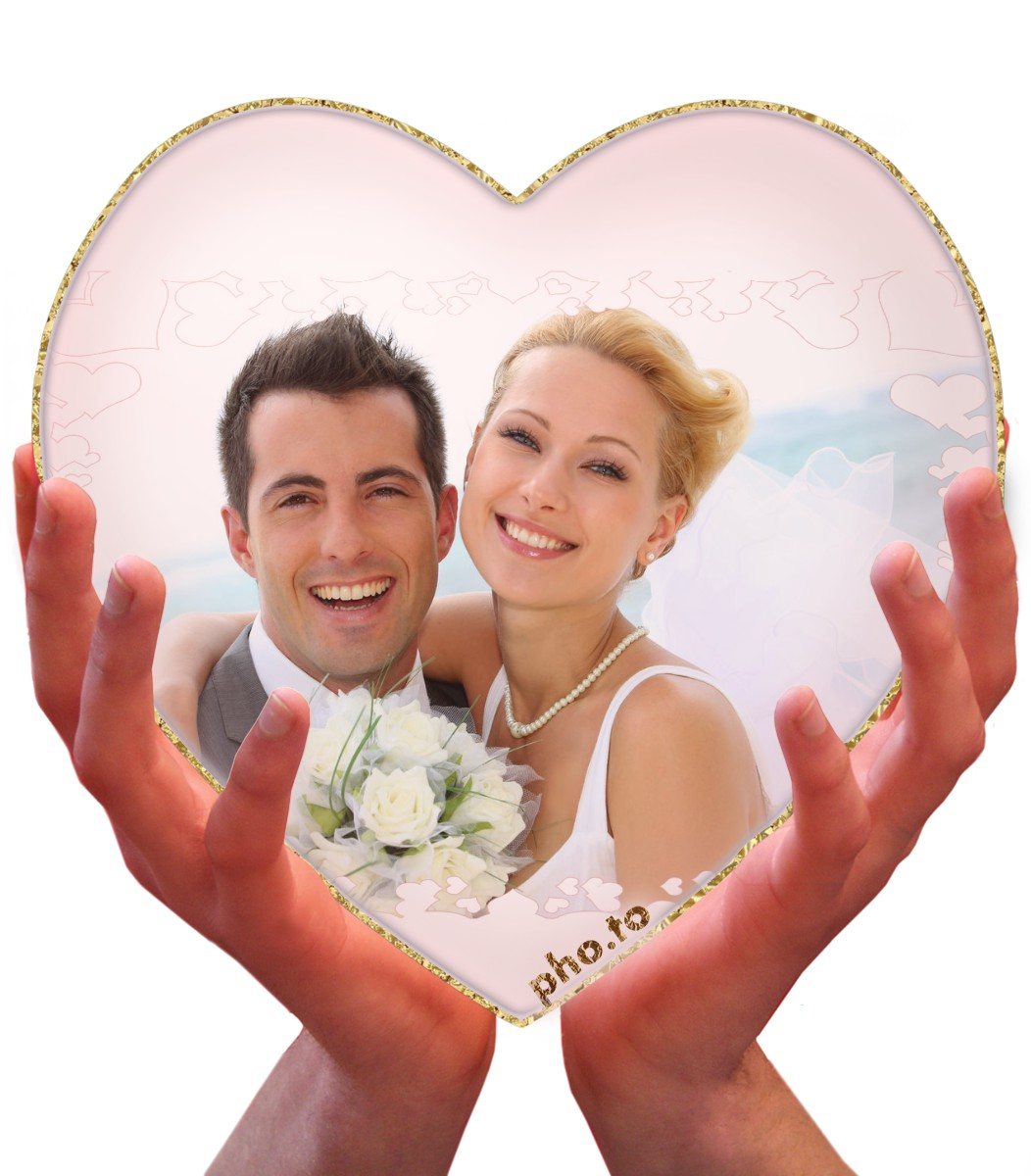 A wedding photo can get a more romantic look with a heart photo effect.