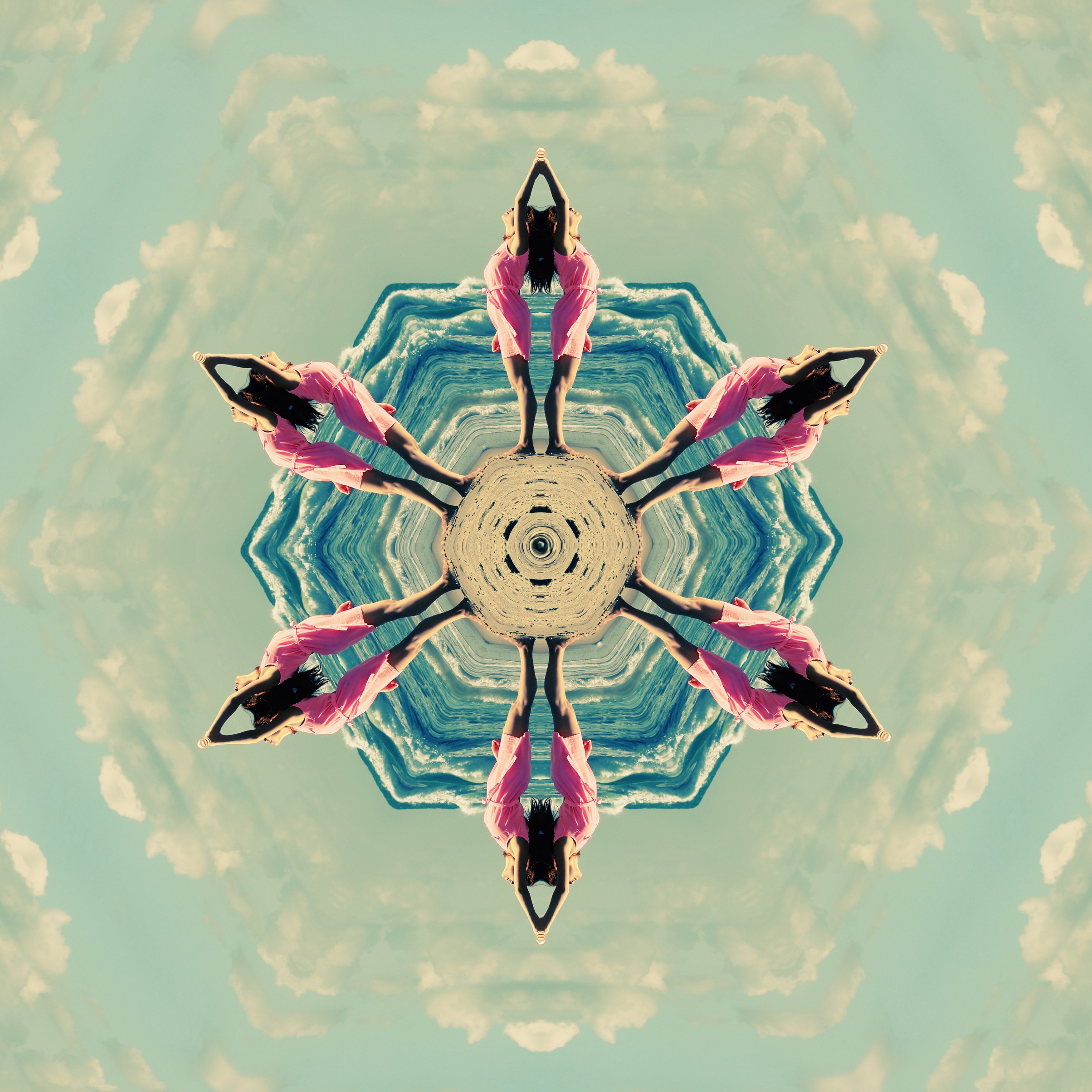I designed a kaleidoscopic pattern of me practicing yoga