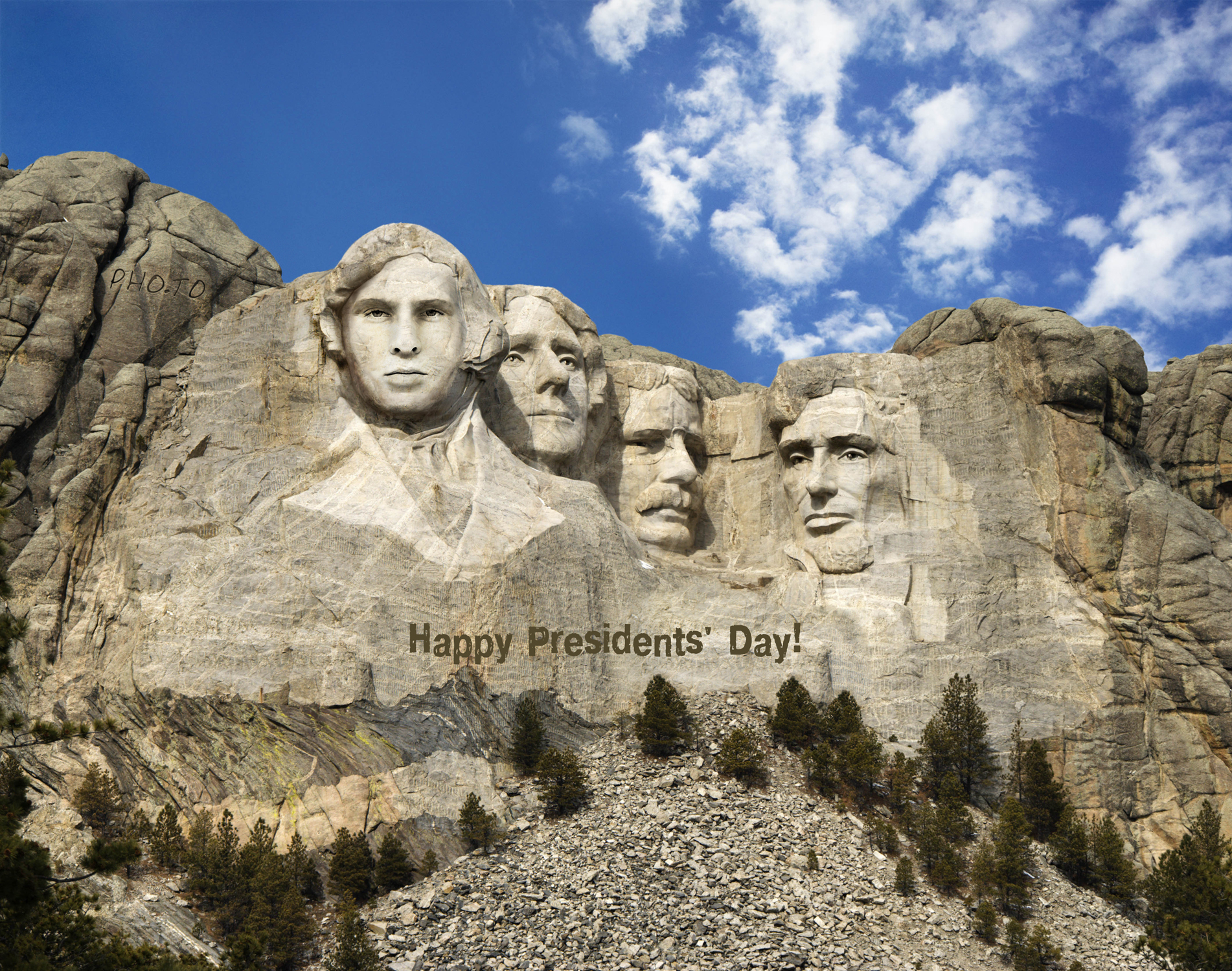 A serious man has been put instead of a president with Mount Rushmore photo montage.