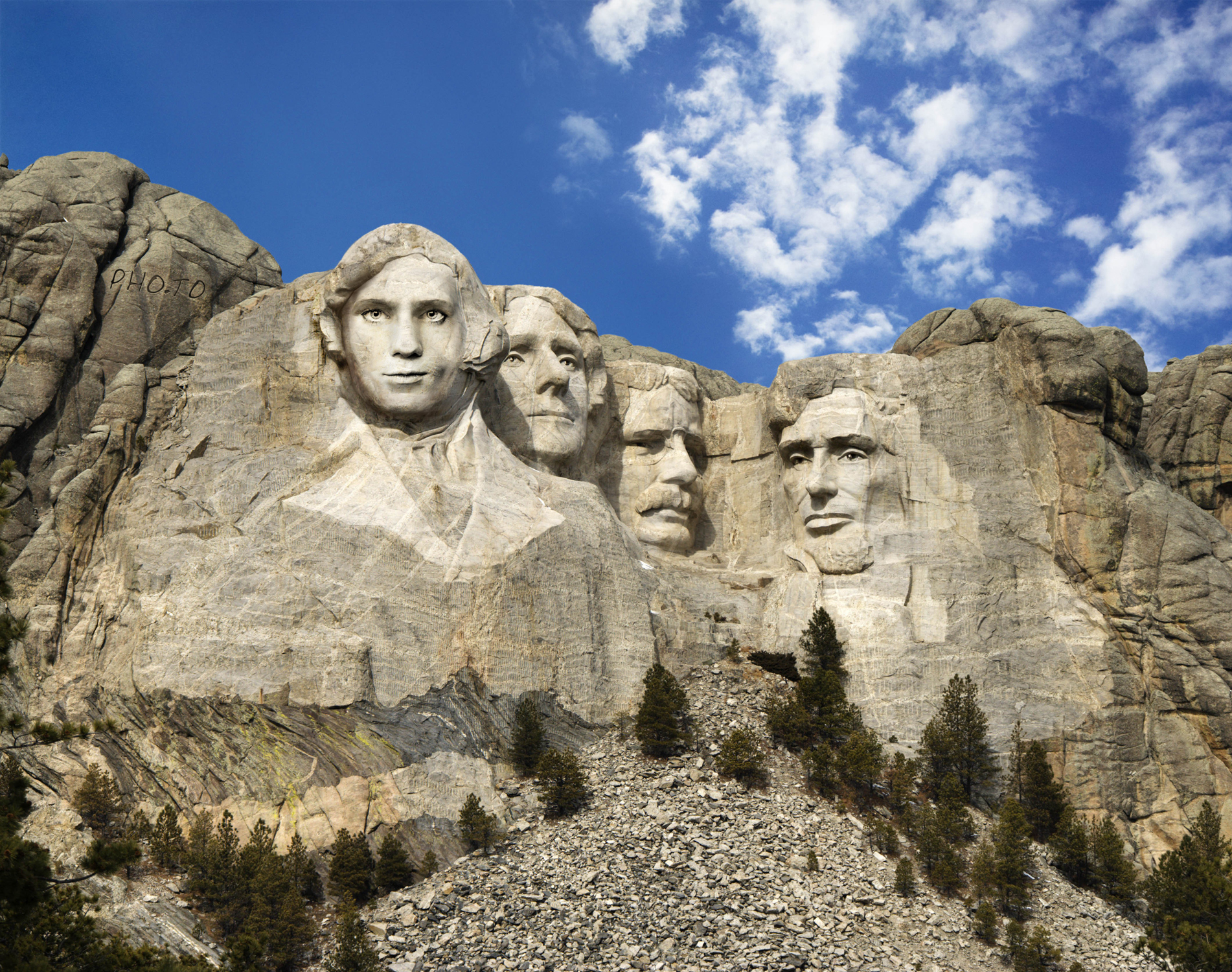 Face of a man is carved in stone. Created on Funny.Pho.to online
