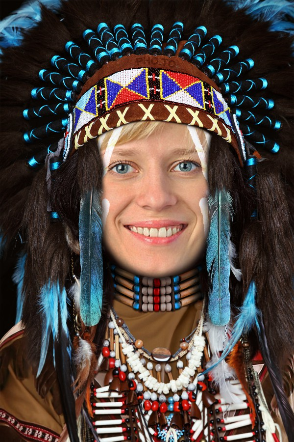 Native Indian face in hole picture with a smiling blonde