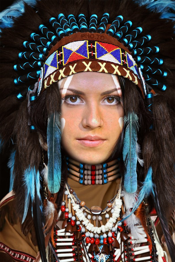 Native American war bonnet and costume added to girl's photo