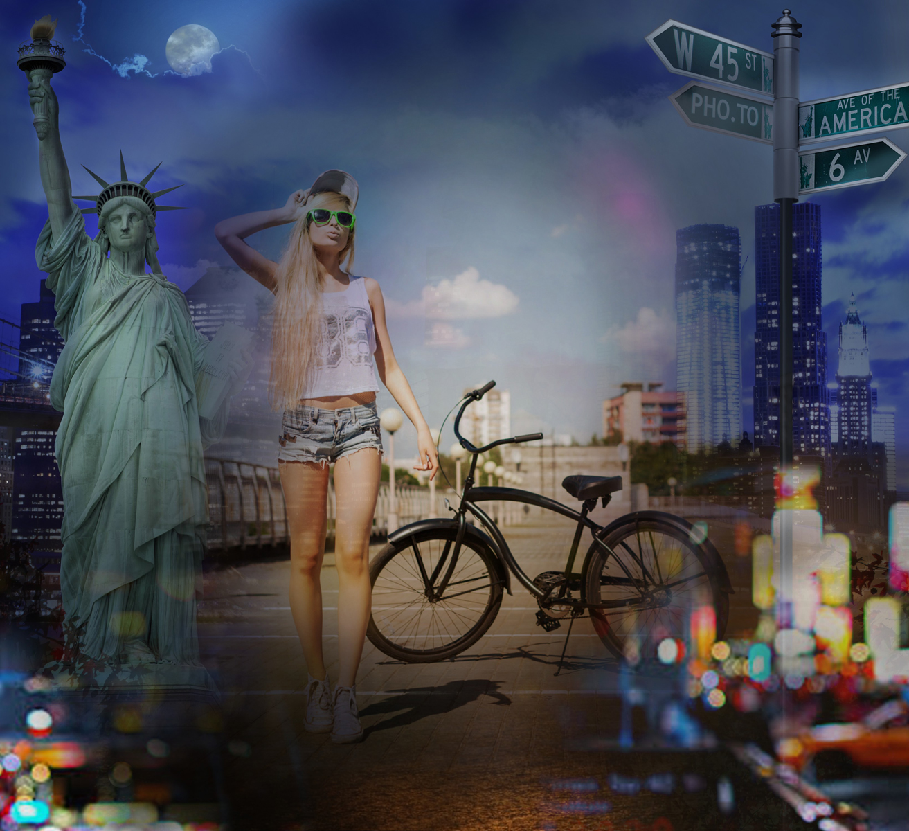 Trendy girl's photo processed with New York City background editor.