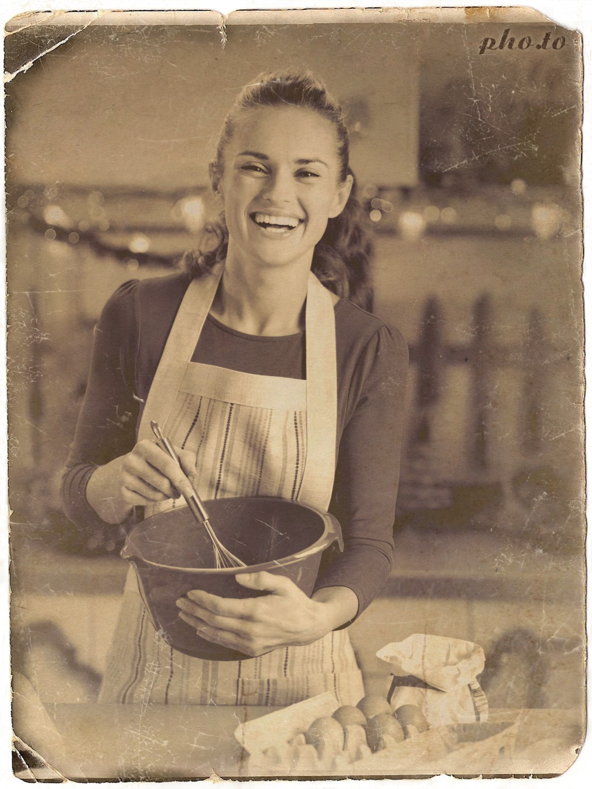 Vintage photo of a woman cooking aged online using photo effect
