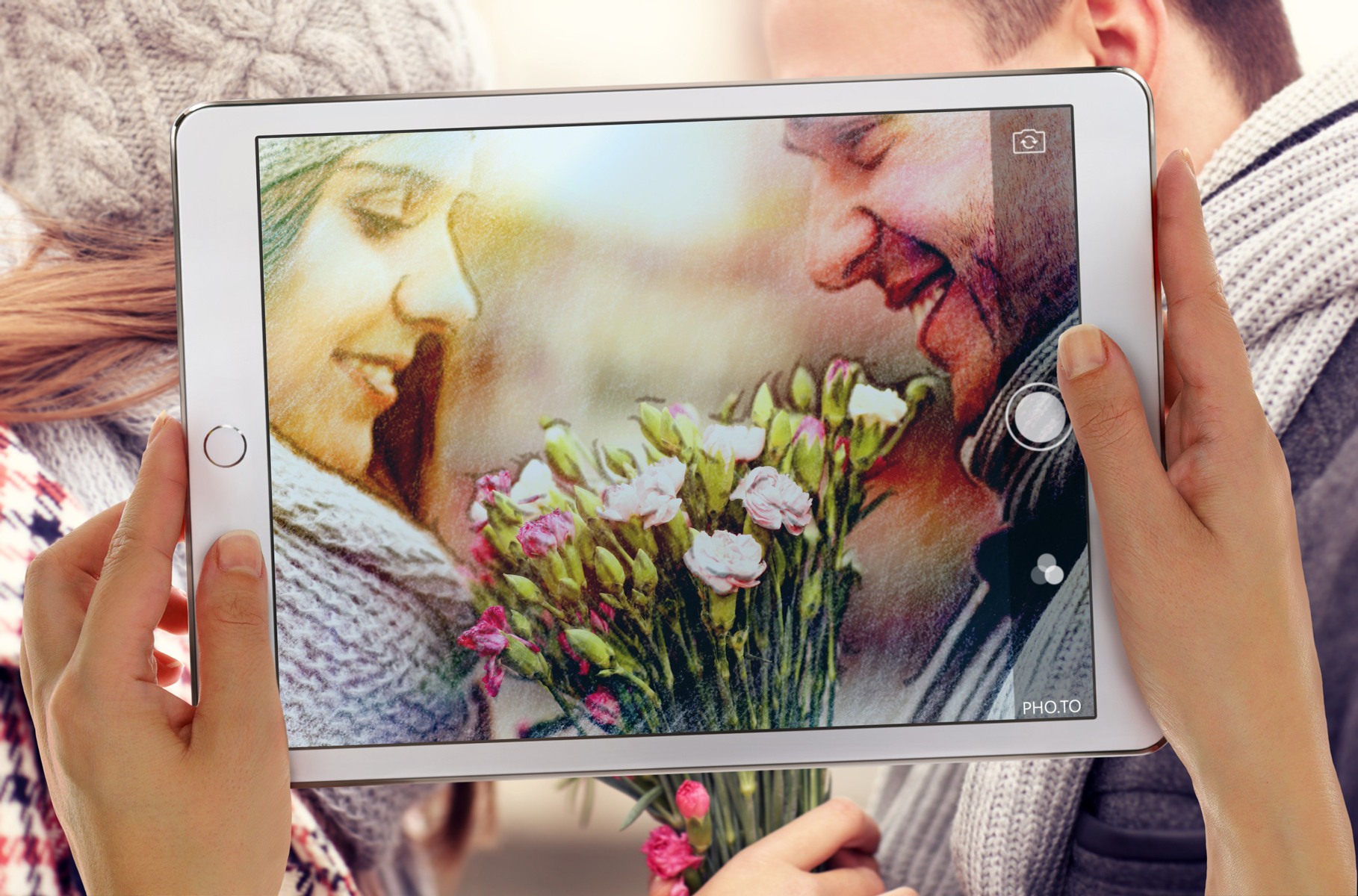 A beautiful drawing vs photography photo montage made with a photo of a happy couple.