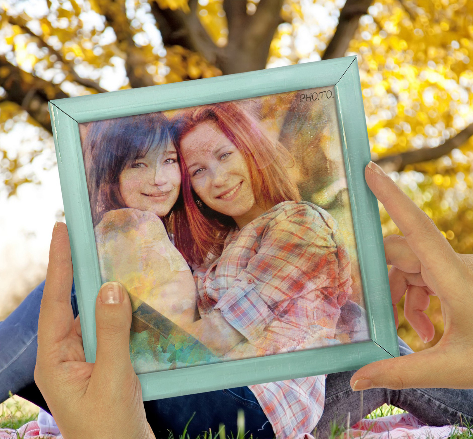 Photo of two girls turned into watercolor painting