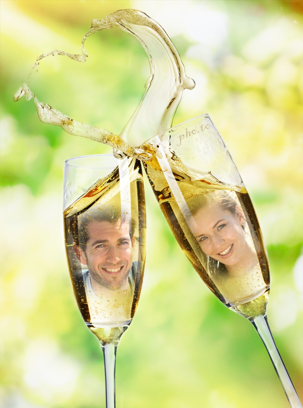 Bride and groom reflected in sparkling wine glasses.