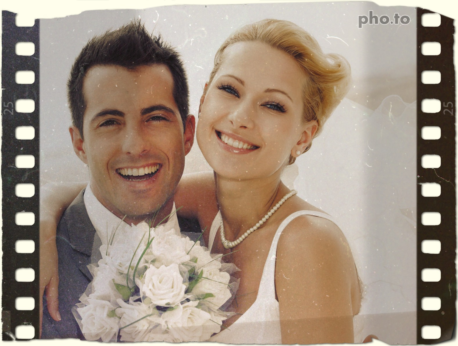 Photo of happy newlyweds edited with photo film frame