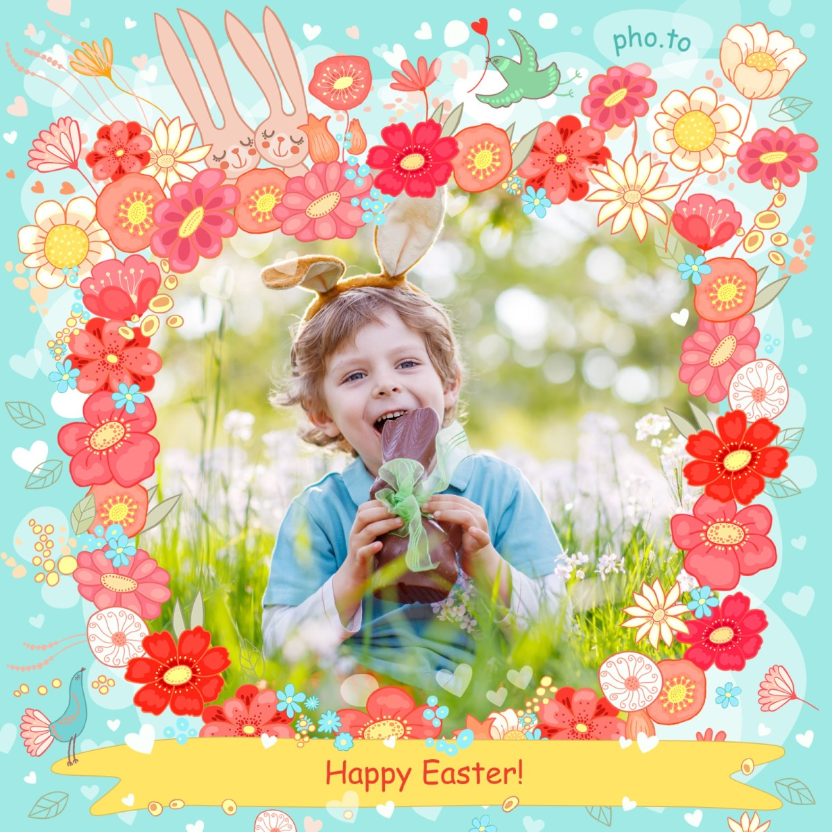 Easter frame with cute cartoon bunnies and spring flowers
