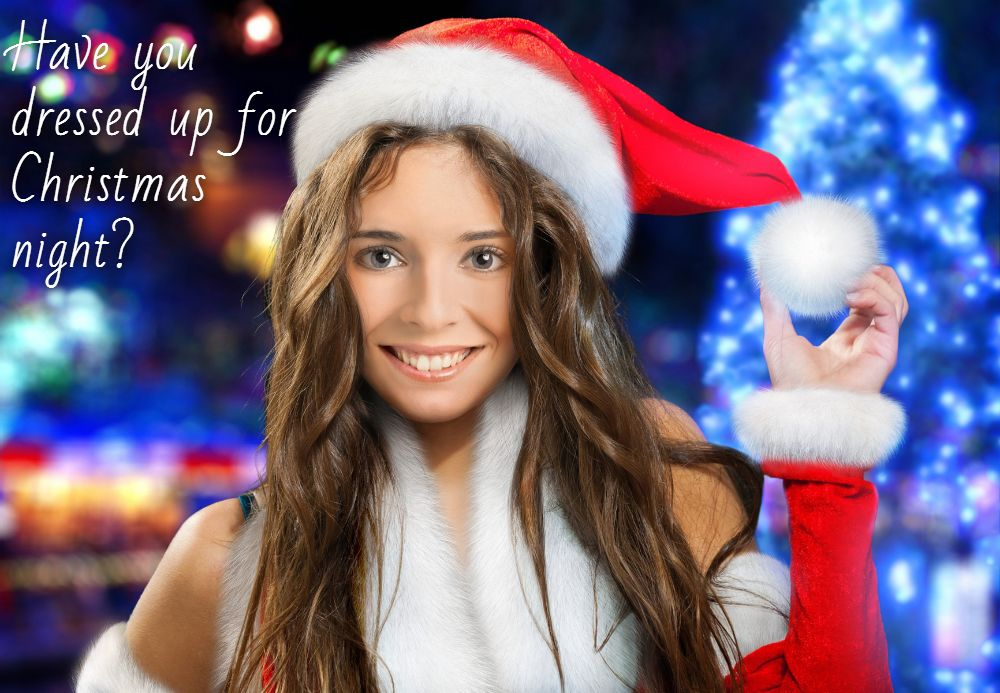 Virtual Christmas card with Miss Santa created out of a photo