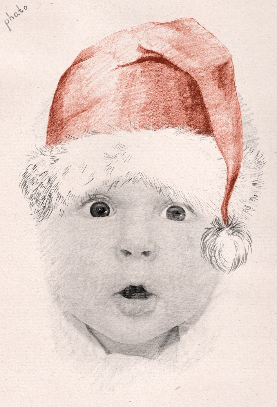 Kid's photo is converted into a Santa sketch for Winter holidays