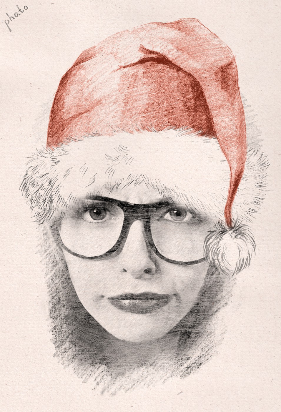 Sketch drawing of a funny girl in glasses wearing Santa hat