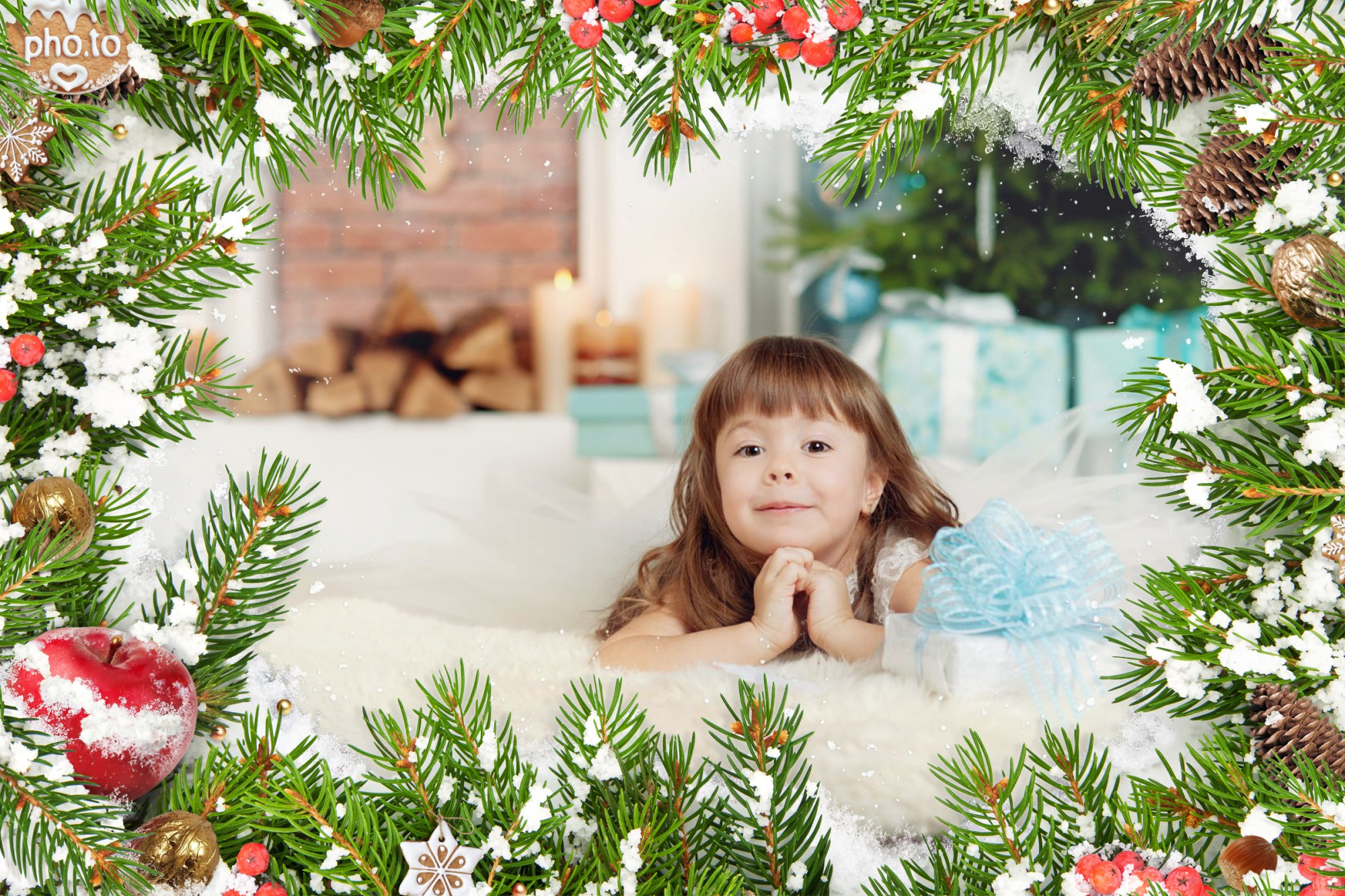 Atmospheric virtual Christmas card with little girl making her big wish