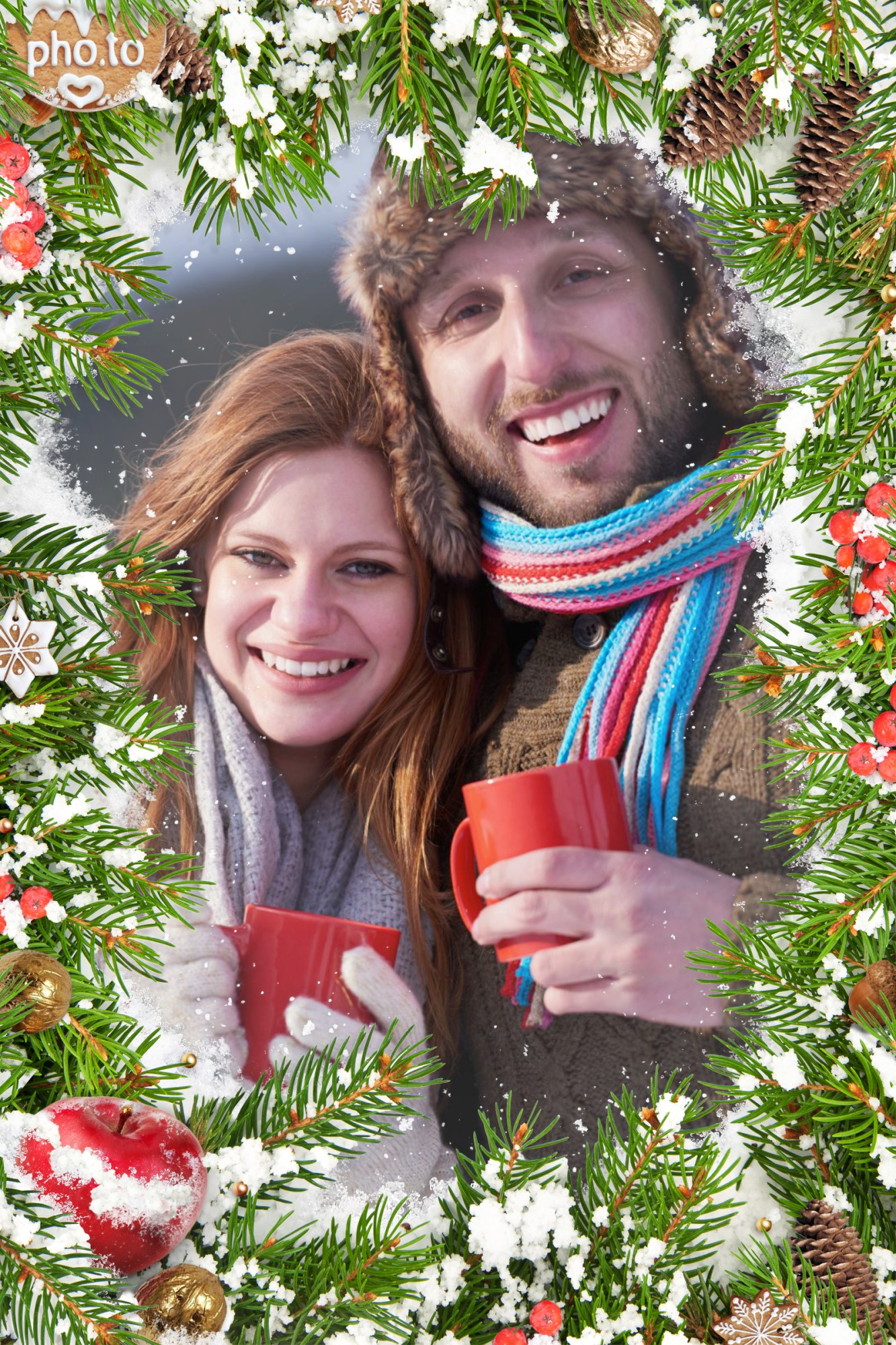 A couple in love is inserted into online winter frame with pine fir and cones