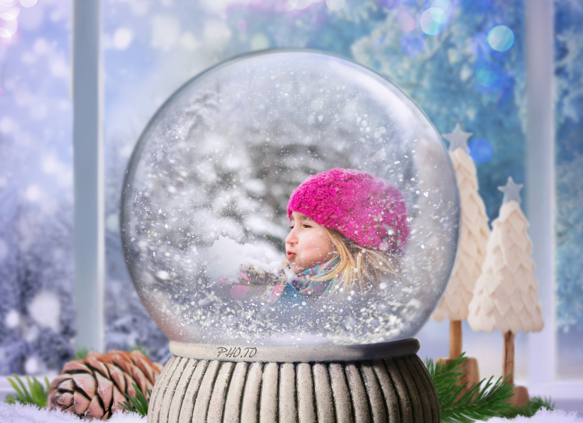 Virtual Snow Globe with a photo of little girl blowing on the snow