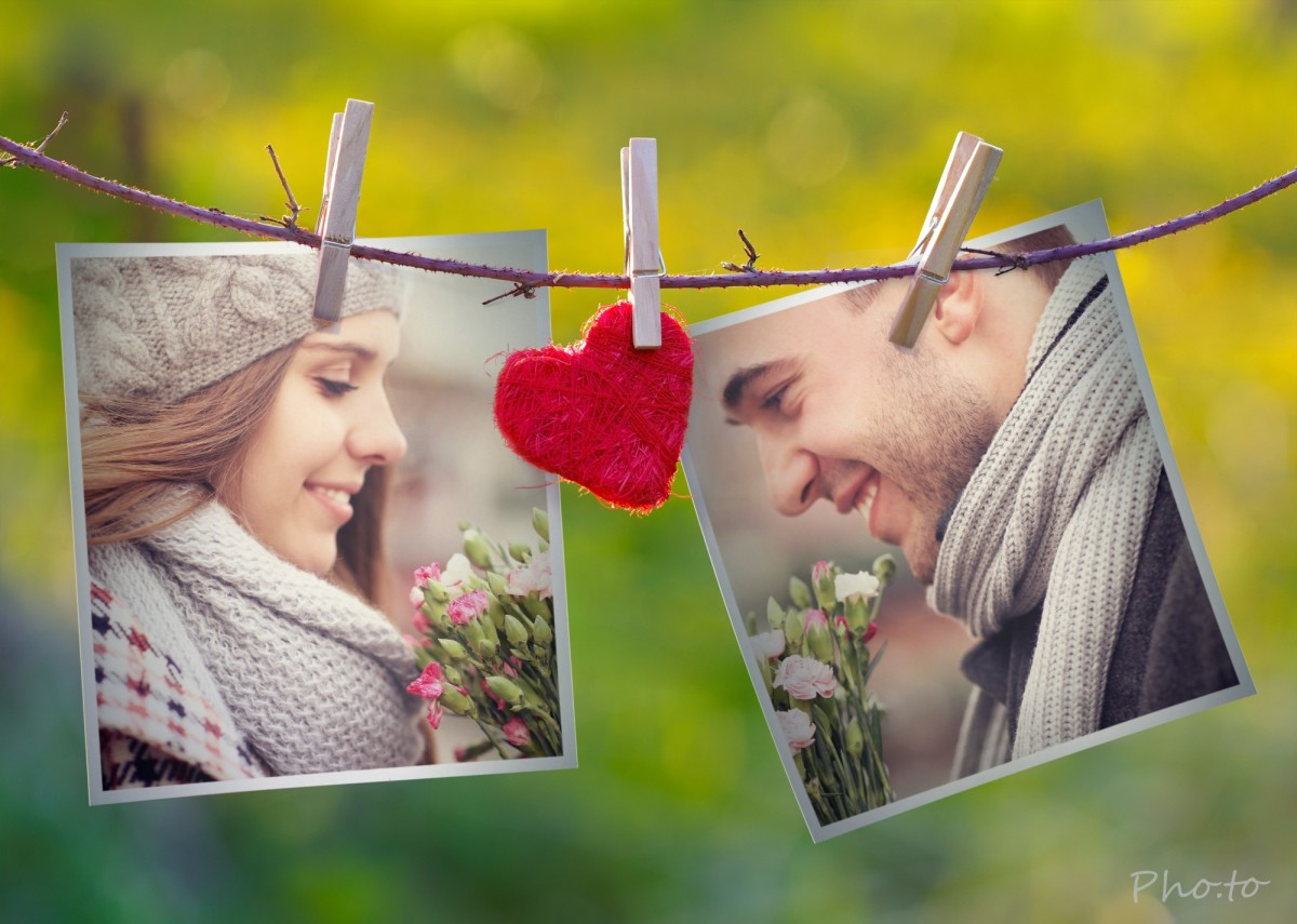 Couple photo frame  Make Valentine card filled with spring