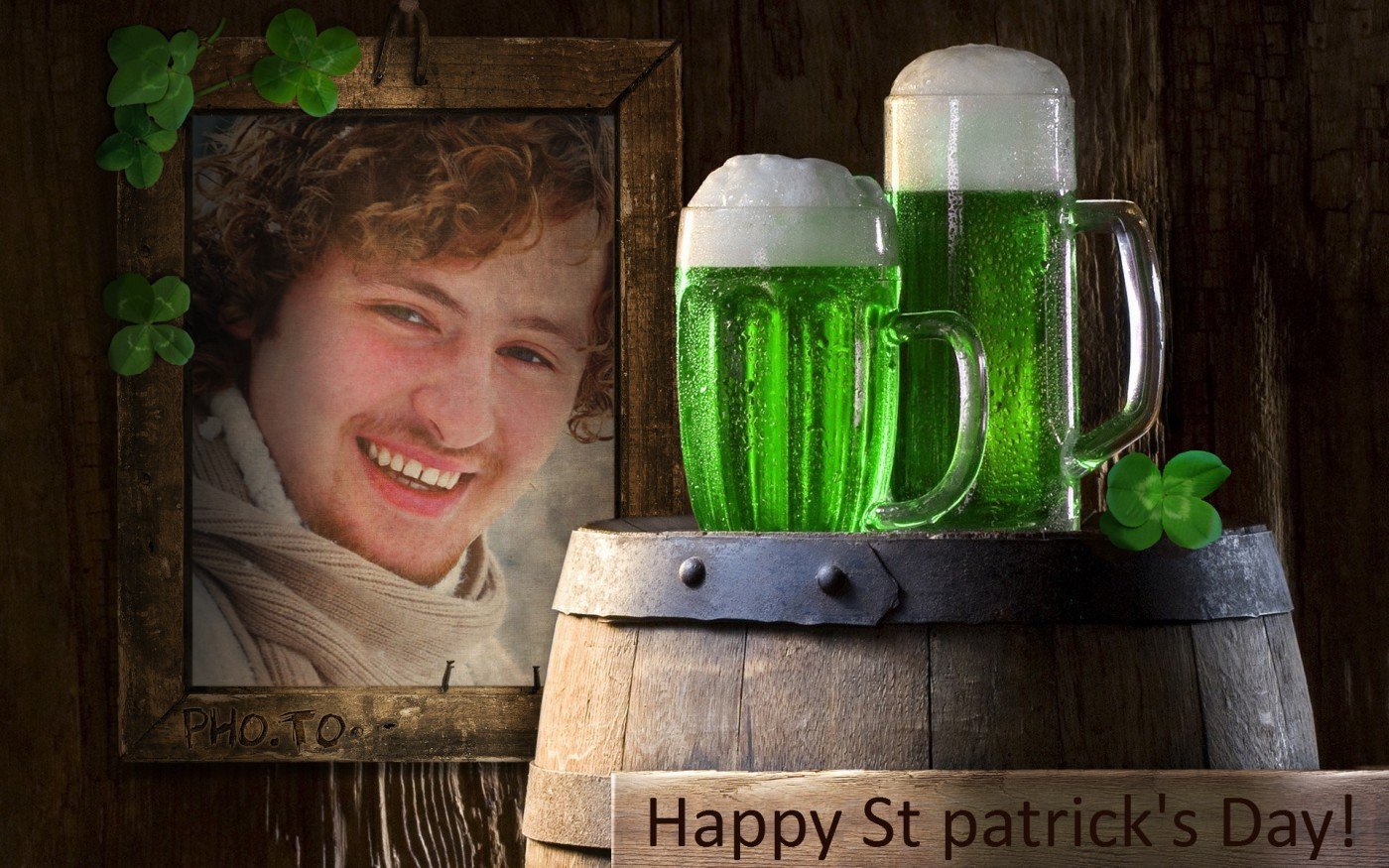 St Patrick's Day ecard frame for your pic and holiday greetings.