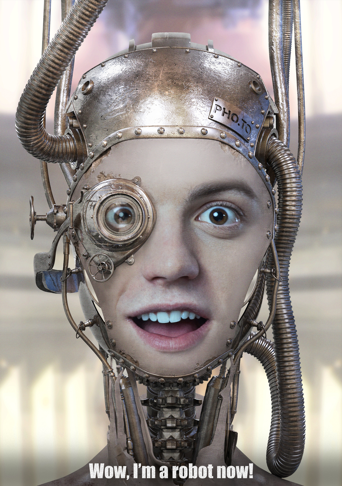 Steampunk droid mask to transform yourself into a humanoid robot
