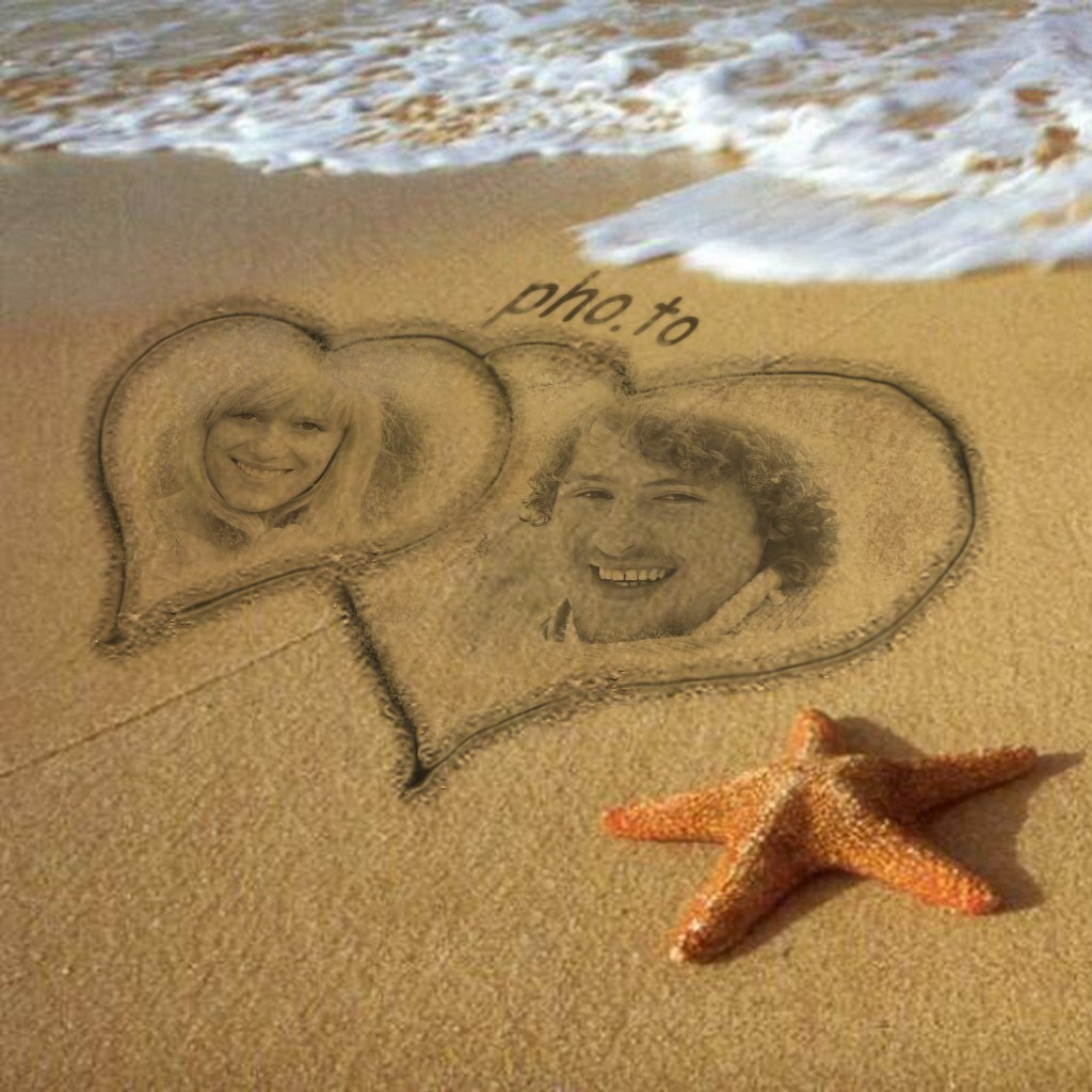 """Romantic double photo frame for photos for special moments in a """"Summer love"""" template."""