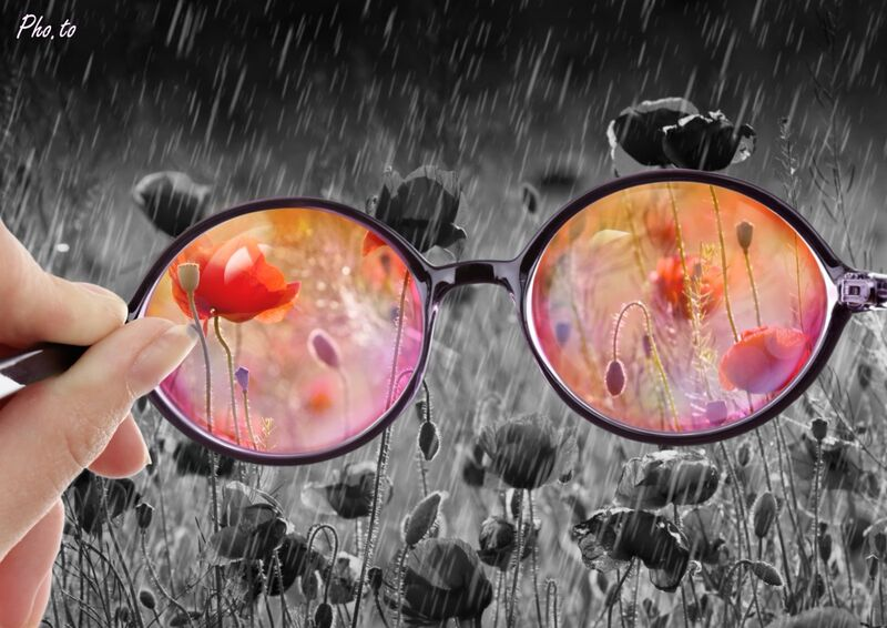 Depicting an optimistic approach to  poppies field: rose glasses effect