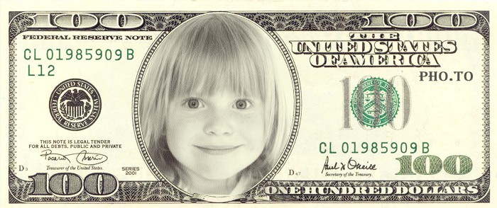 Face in dollar bill editor was applied to a child's photo