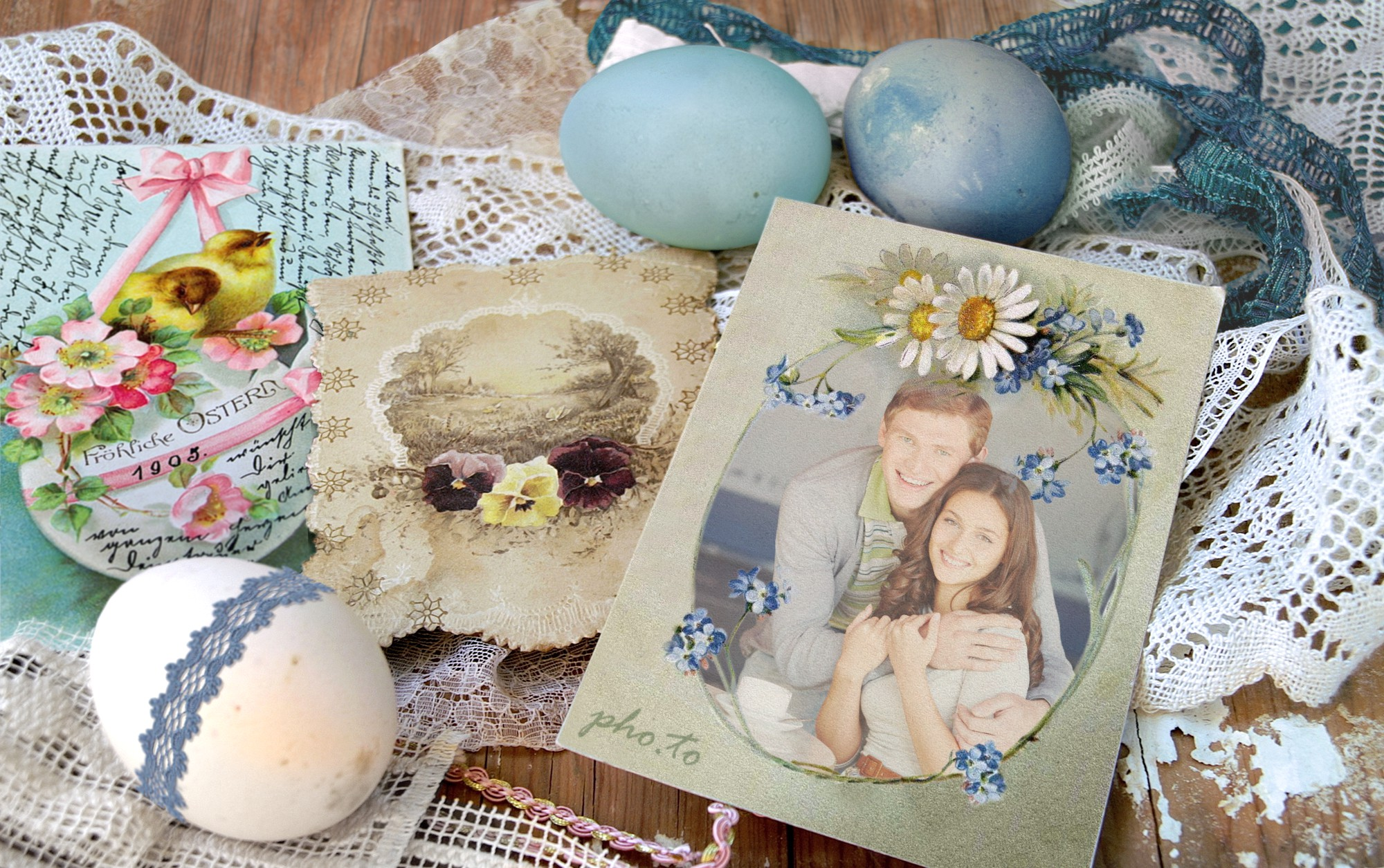 A beautiful Easter scene with a photo of a boy and girl in the centre