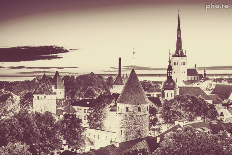 Photo of an old town with vintage filter applied.