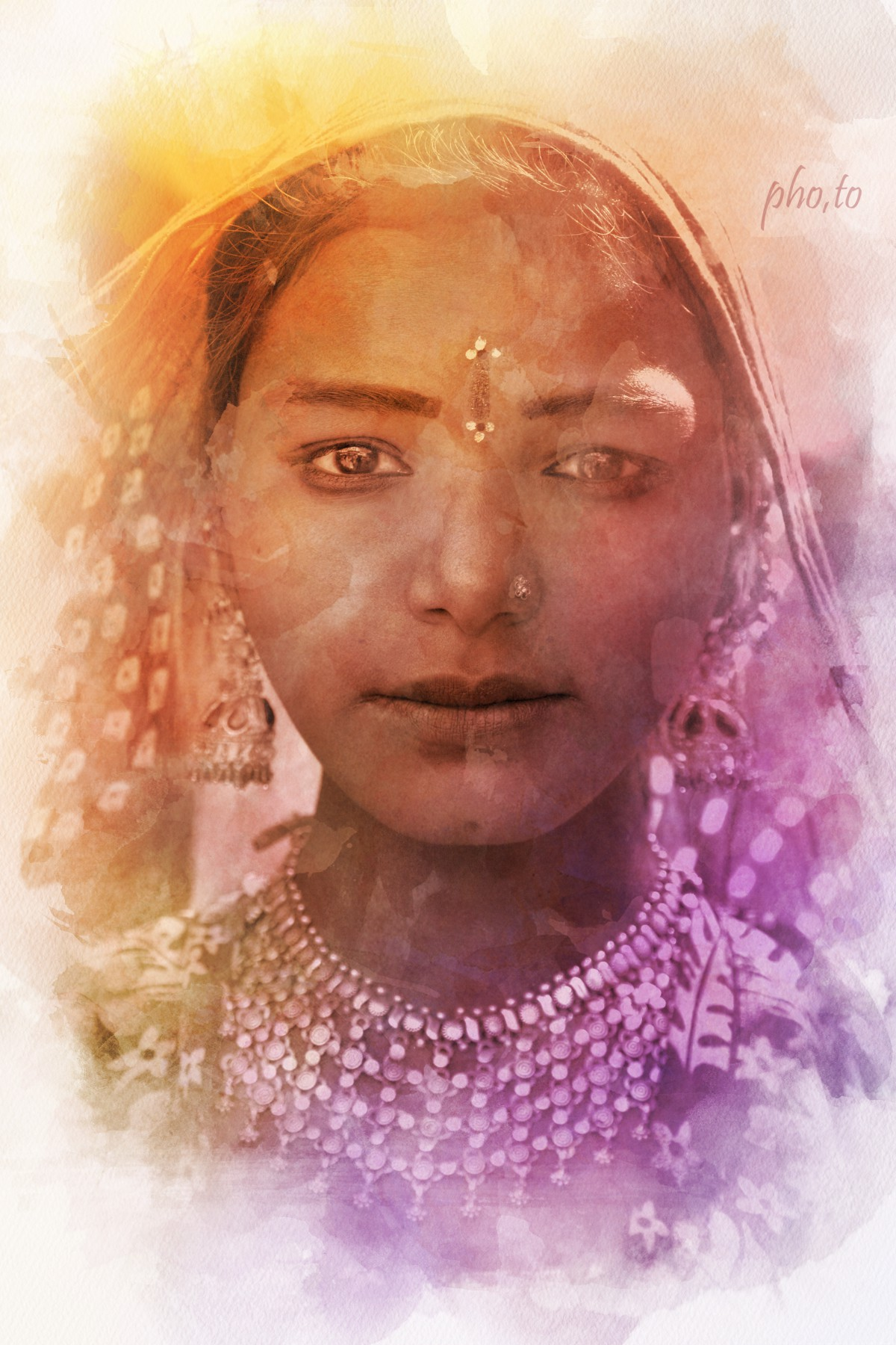 Watercolor photo effect applied to a photo of an indian girl.